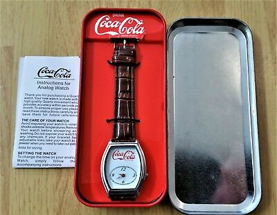 Vintage Coca Cola Watch in Coke Machine Tin Works Retro Collectible Analog