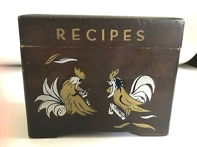 Vintage Hinged Wood Recipe Box ~ Chicken / Hen / Rooster ~ Japan