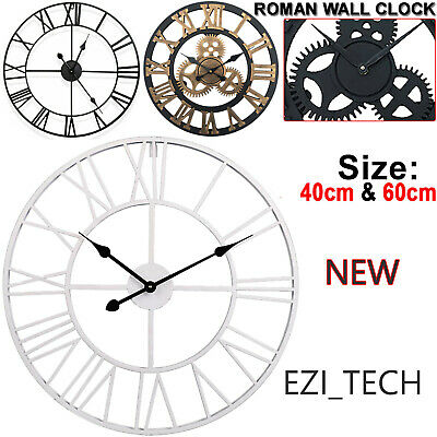 30-60Cm Large Traditional Vintage Style Iron Wall Clock Roman Numeral Home Deco