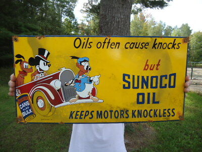 Large Vintage 1939 Sunoco Oil Porcelain Gas Service Station Pump Sign