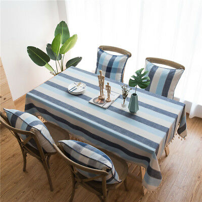 Striped Table Cloth Cotton Linen Lace Tassel Tablecloth Dining Decor Table Cover