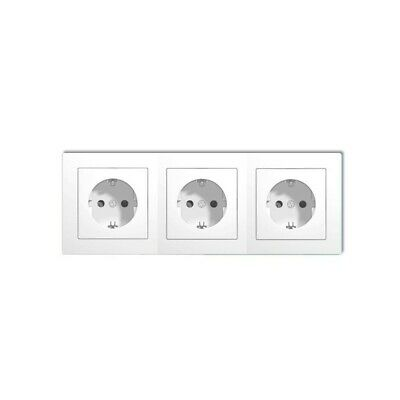 Triple base schuko empotrable 2P + T 16A 250V blanco