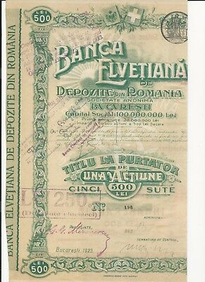 Romania. Swiss Bank. 1 X 500 Lei  Bond, 1923. With Coupons.