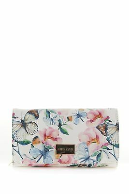 New Laura Jones Butterfly Large Large Womens Purse Wallet White Multi