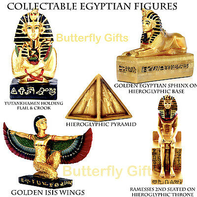Ancient Egyptian Golden Figurines Tutankhamen Rameses II Sphinx Pyramid Isis New