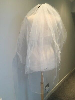 2 Layer Cathedral Wedding Veil With Comb