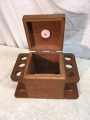 Vintage wooden 6  pipe stand with  humidor Mid Century pipe Stand