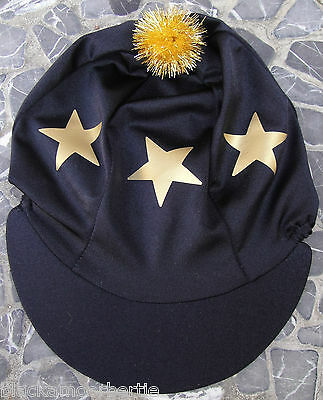 Lycra Riding Hat Silk Skull cap Cover BLACK * GOLD STARS With OR w/o Pompom