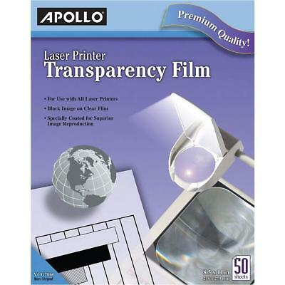 Apollo Transparency Film for Laser Printers, Black on Clear, 50 Sheets/Pack