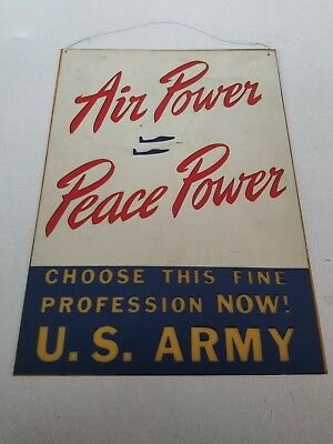1940's Vintage U.S Army Recruiting Sign RARE