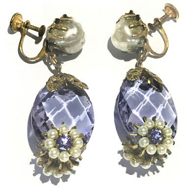 Vintage Unsigned Miriam Haskell Purple Faceted Glass Baroque Pearl Earrings