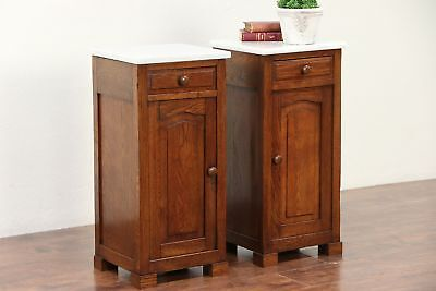 Pair French Antique Oak Nightstands, Raised Panels, Marble Tops #29574