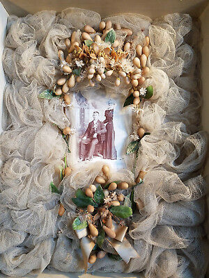 Antique Wax Orange Blossom Wedding Coronet Headpiece Framed With Cabinet Photo