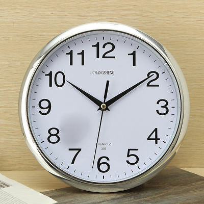 Retro Vintage Silver Round Wall Clock Modern Home Bedroom Kitchen Time UK
