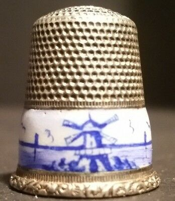 German Sterling Silver and Delft Thimble Pre 1953 Tax Stamp Star Daisy Mark