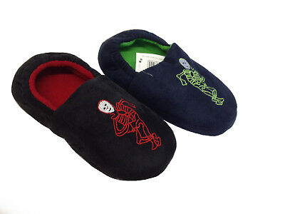 Boys Girls Skeleton Slippers Winter Warm Soft Indoor Home Cotton Slipper Shoes