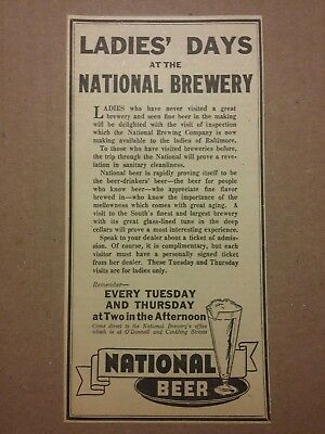 1936 National Brewing Company Beer Ad Ladies Days