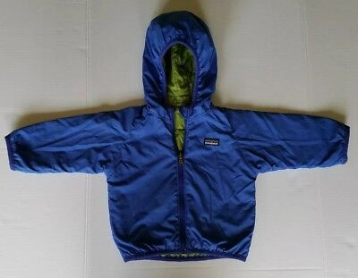 Patagonia Baby Reversible Puffball Jacket Woodland 12 to 24 month Blue/Green