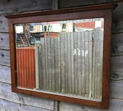Large Antique Solid Oak Arts And Crafts Bevelled Edged Mirror Circa 1900