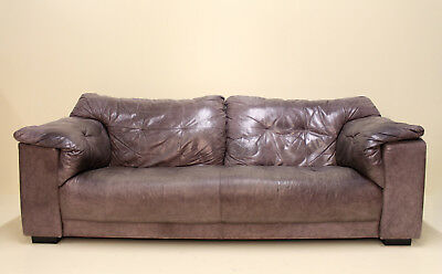 1 of 2 Vintage Sofa Gunmetal Grey Leather Couch Settee Large 2 Seater