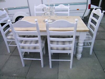 Lovely Shabby chic pine farmhouse Table and 6 pine Chairs  CAN DELIVER