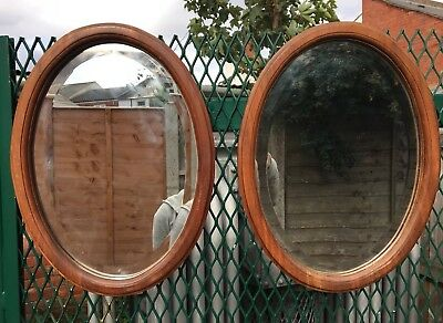 Pair Of Antique Arts And Crafts Oak Framed Beveled Mirrors