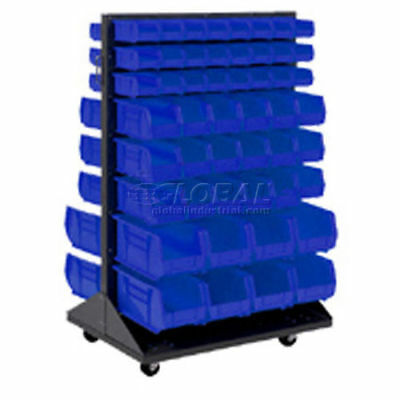 Mobile Double Sided Floor Rack With (64) Blue Bins, 36x25.5x54, Lot of 1