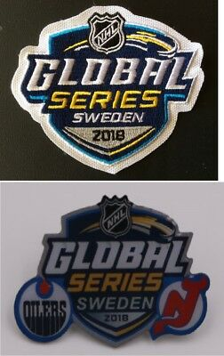2018 Nhl Global Series Sweden Jersey Patch & Dueling Team Pin Devils Vs. Oilers