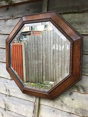 Original Large Antique Solid Oak Arts & Crafts Bevelled Edged Mirror