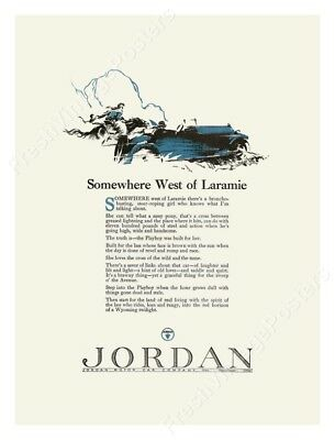 1923 Jordan Playboy car Somewhere West Of Laramie 1st version poster 18x24