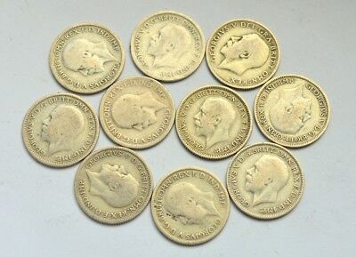 Great Britain Lot Of 10 Silver Six Pence 1922/1935 Uk