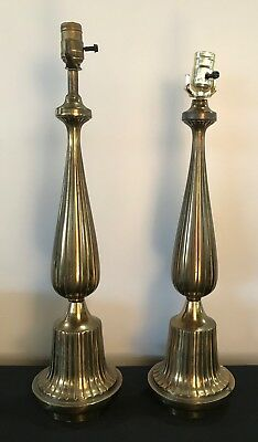 Pair of Art Deco MCM Brass Lamps French Ruhlmann Style Laurel?