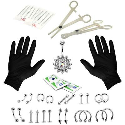 41PCS Professional Piercing Kit Stainless Steel 14G 16G Belly Ring Tongue Tra P5