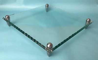 Faceted Glass Pewter Square Cake, Plant Trivet Stand Style of Fontana Arte MCM