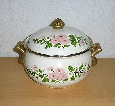 Emaille VINTAGE Koch Topf mit Messinggriffen vintage shabby chic