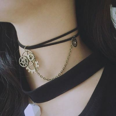 Vintage Gothic Victorian Steampunk Handmade Gear Necklace Choker Chain Pendant