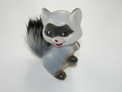 Cute Blue Raccoon Vintage Enesco Porcelain with Fur Tail & Original label