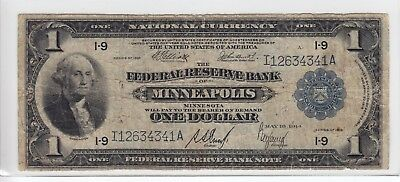 United States 1918 Federal Reserve Bank of Minneapolis $1 Note I12634341A