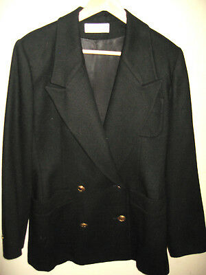 Vintage 1980's Womans Black Christian Dior Blazer Double Breasted