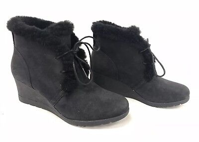 d07f48d6126 UGG AUSTRALIA JEOVANA Boots Black Suede Waterproof WP 1017421 Wedge Lace ~