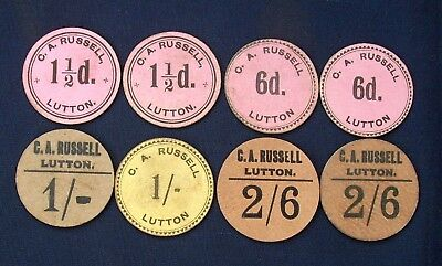 Eight G A  Russell Fruit Pickers Tokens C1950s - 11/2d to 2/-6d