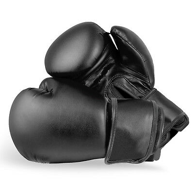 BLACK BOXING GLOVES Mma Punch Bag Sparring Training Mitts Rex Leather All Sizes