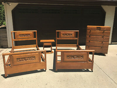 Solid British Oak Twin Bed Set Jamestown Lounge 1940 Pick-Up Only