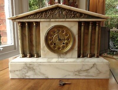 White Marble and brass or ormolu antique German mantel clock by HAC Company