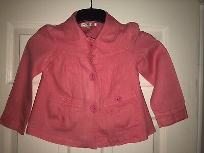 Beautiful Girls M&S Autograph 100% Linen Coral Pink Lined Jacket   4–5 Years S