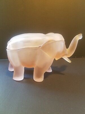 Pink Sateen Glass Elephant Trinket Box With Lid - Unusual And Very Cool