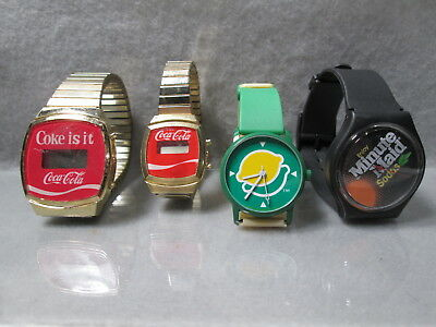 VINTAGE LOT OF 4   Coke Coca~Cola - Sprite (?) and Minute Maid Wrist Watches