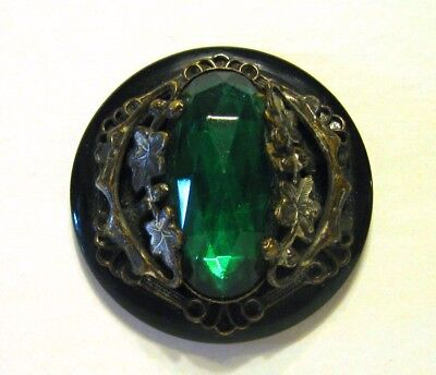 Large Antique Jewel Set in Metal Button Green Glass Ivy Leaves