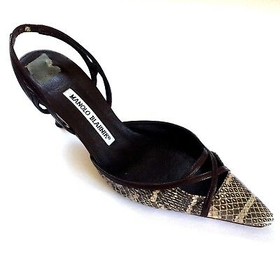 e88b4207db3bb Manolo Blahnik Snake skin Slingback Pump Pointed Toe Brown 37 7 Slim Heel  $635