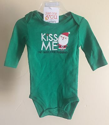NWT Carter's Baby Boy or Girl 2 Piece Green Christmas Santa Outfit Size 3 Months